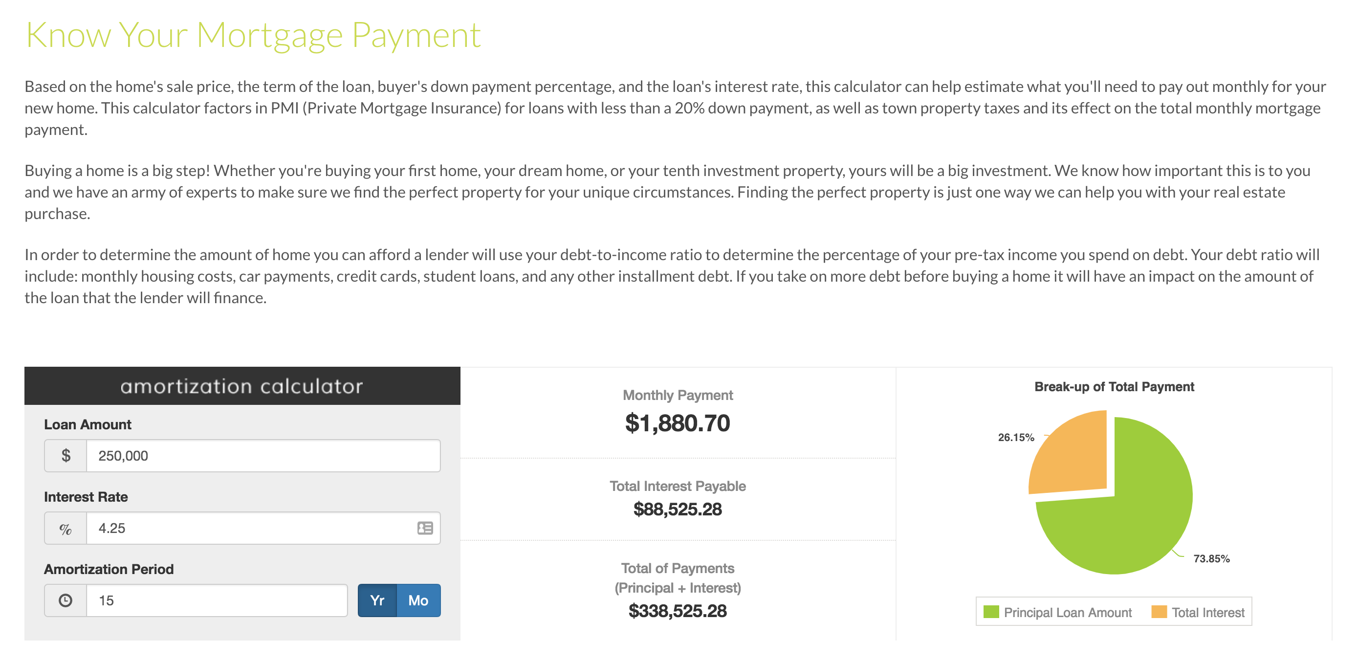 Home Mortgage Loan Calculator With Pmi - Home Sweet Home
